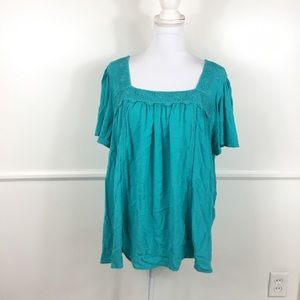 Lane Bryant Teal Crochet Crepe Top Womens 16